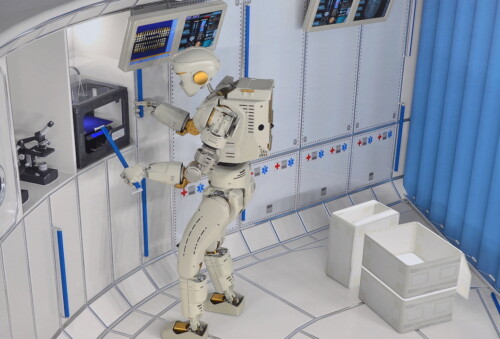 Valkyrie humanoid robot working inside Gateway lunar station