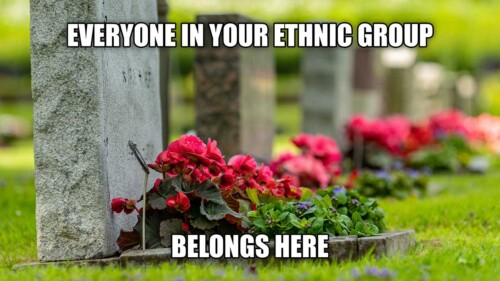 Meme with photo of cemetery.