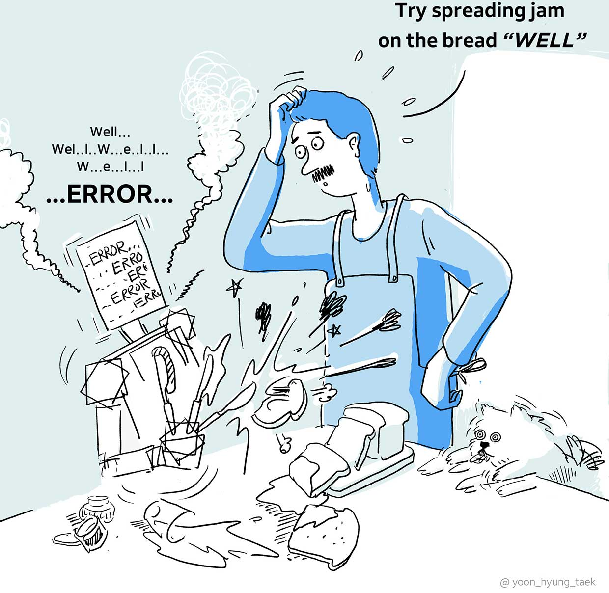 illustration of a man with a robot trying to spread jam on bread well