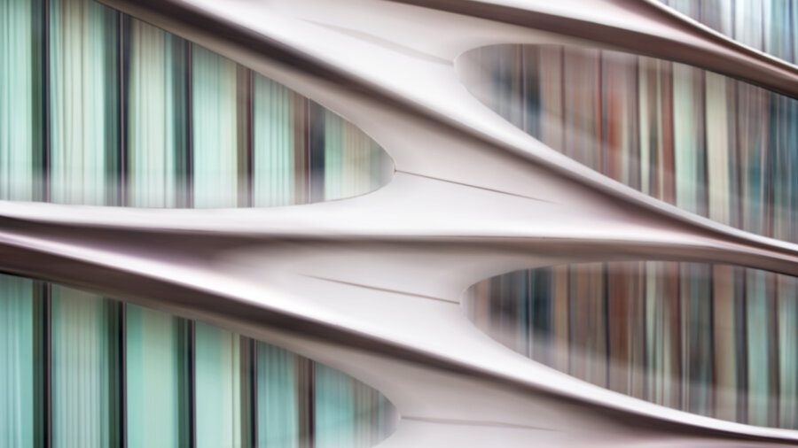 tech stories pink green abstract architecture